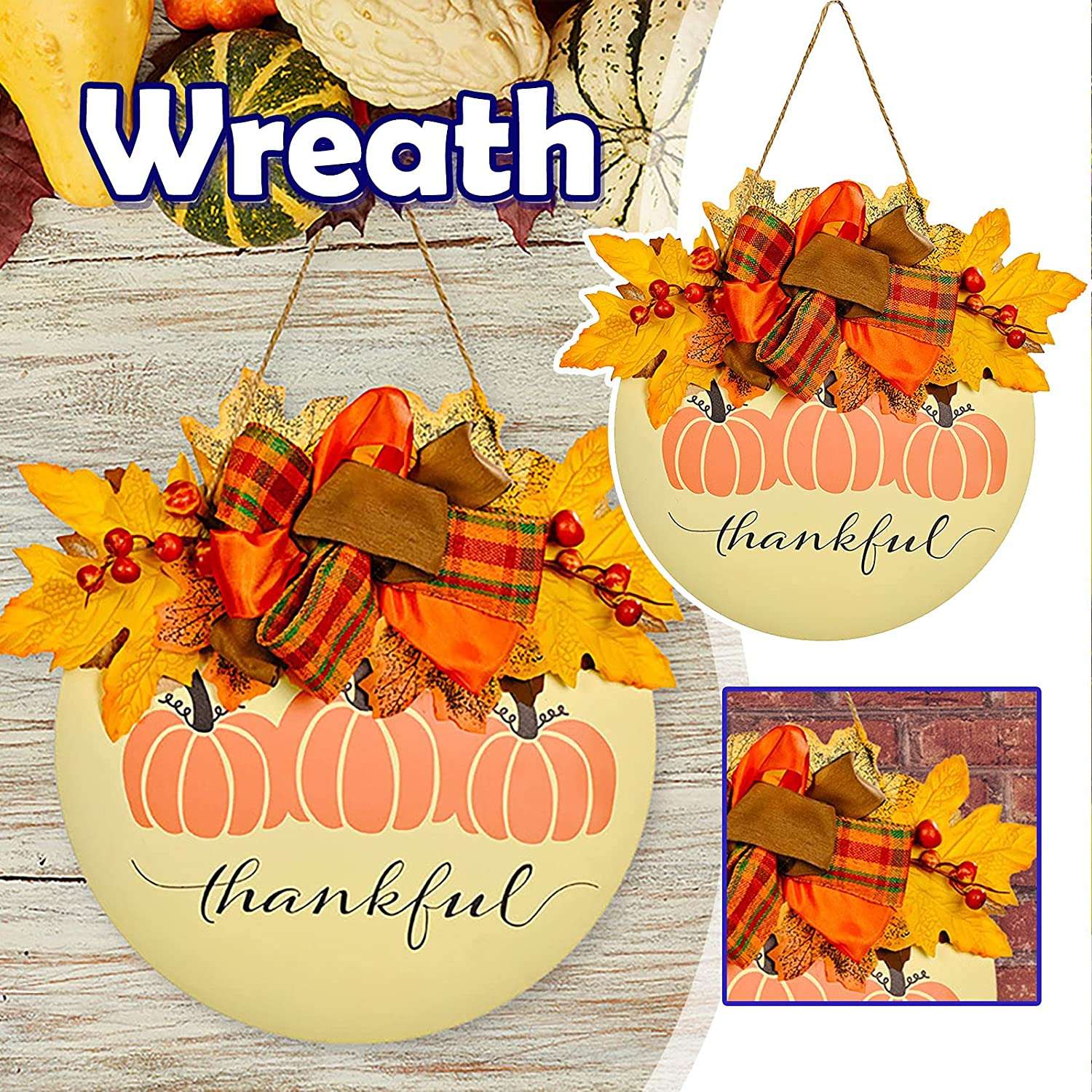 Thankful Sign for Front Door Home Pumpkin Decor Oakland Mall Limited time trial price Wall Wooden Hang