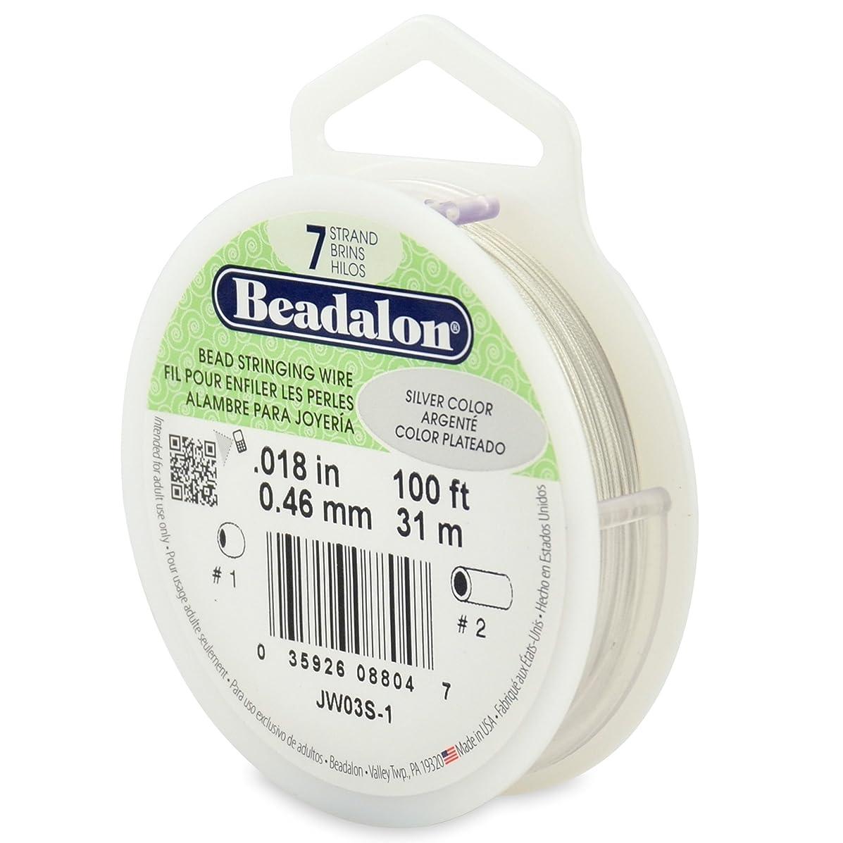Beadalon 7-Strand Bead Stringing Wire, 0.018-Inch, Silver Color, 100-Feet
