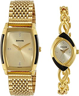 Sonata Analog Gold Dial Unisex Watch-NK70808069YM01