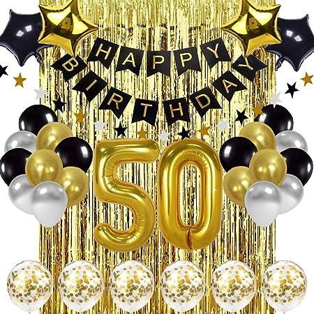 Szhuiher Schwarz Und Gold 50 Geburtstag Dekorationen Banner Ballon Happy Birthday Banner 50 Gold Nummer Ballons Nummer 50 Geburtstag Ballons 50 Jahre Alte Geburtstag Dekoration Zubehör Spielzeug