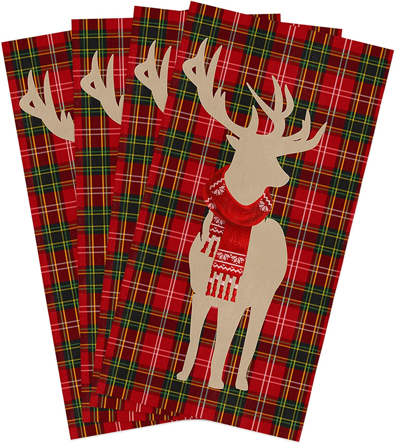 Microfiber Soft Great interest Kitchen Dish Complete Free Shipping Towels Pack 4 De of Christmas Merry