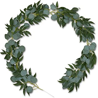 Premium Eucalyptus Willow Garland - Greenery Decorations - Artificial Decorative Backdrop - Wedding Reception/Special Event/Farmhouse Fake Plant Decoration - Indoor/Outdoor decor - Faux Hanging Ivy
