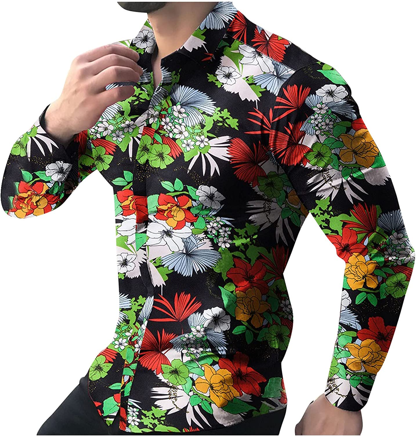 Long Sleeve Tee Shirts for Men Button up Slim Fit Dress Shirt Flower&Leaf Print Collar Tops Fashion Vacation Blouse