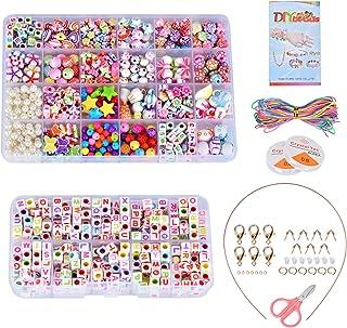 Queta 1150pcs Perles de Bricolage DIY Loisirs Créatif Colliers pour Enfant Kit de perles Jeux éducatif et scientifique Bra...
