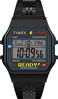 T80 x PAC-MAN 40th Anniversary 34mm Digital Watch – Black Ready! with Stainless Steel Bracelet