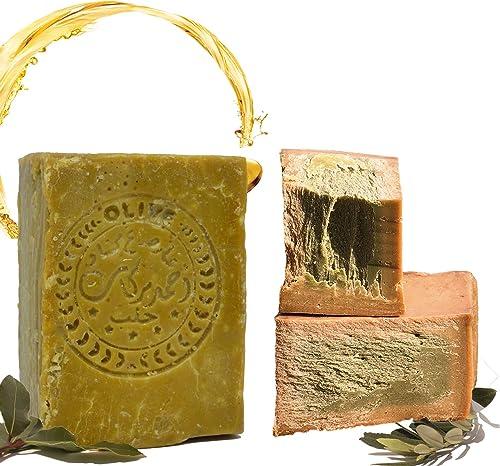 E4U Original Aleppo Jabón clásico 60% aceite de oliva, 40% aceite de laurel, aprox. 200 g vegano, jabón natural, jabó...