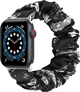 CAVN Scrunchies Band Compatible with Apple Watch Series 6/5/4/3/2/1 / SE 38mm 40mm 42mm 44mm for Women, Elastic Floral Printed Strap Compatible with iWatch, Bracelet Accessory for Smartwatch