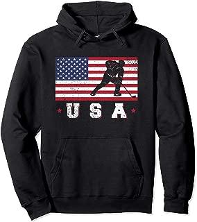 American USA Flag Ice Hockey Hoodie Patriotic Sports Gift