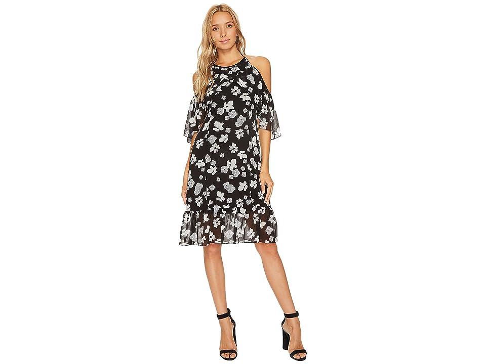 kensie Floral Off Shoulder Halter Dress KS9K9680 (Black Combo) Women