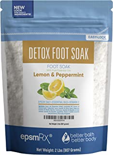 Detox Foot Soak 32 Ounces Epsom Salt with Lemon and Peppermint Essential Oils Plus Vitamin C Made with All Natural Ingredients also Includes Lavender and Frankincense Essential Oil