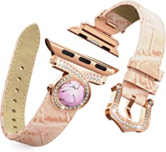 BaiHui Leather Watch Band Compatible with Apple Watch 38mm 40mm Series 5/4/3/2, Genuine Leather with Bling Crystal Diamonds Replacement Watch Strap for Women/Girls - Pink