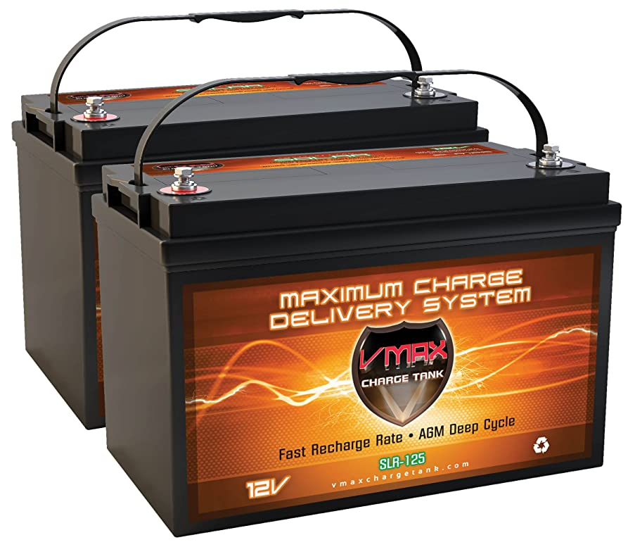 VMAXSLR125-2 QTY 2 VMAX SLR125 AGM Sealed Deep Cycle 12V 125Ah (250Ah total) batteries for Use with Pv Solar Panels,Smart chargers wind Turbine and Inverters