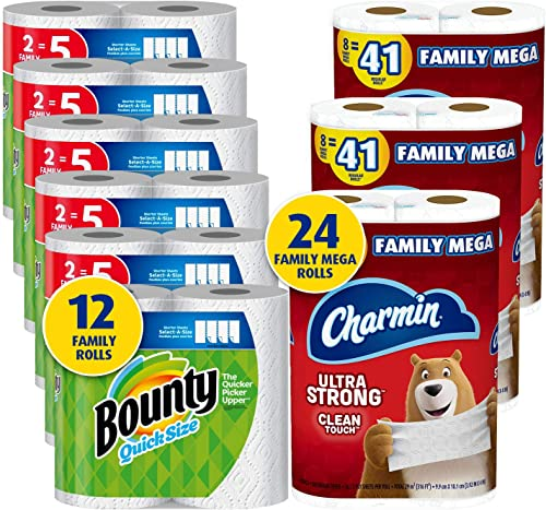 Charmin Ultra Strong Clean Touch Toilet Paper, 24 Family Mega Rolls and Bounty Quick-Size Paper Towels,12 Family Roll...