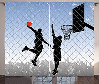 Lunarable Sports Curtains, Basketball in The Street Theme 2 Players on Grungy Damaged Backdrop, Living Room Bedroom Window Drapes 2 Panel Set, 108