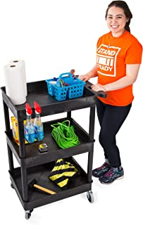 Tubstr Compact 3 Shelf Utility Cart/Service Cart - Heavy Duty - Supports up to 300 lbs - Tub Carts with Deep Shelves - Great for Warehouse, Garage, Cleaning and More (3 Shelf/Black 24x18)