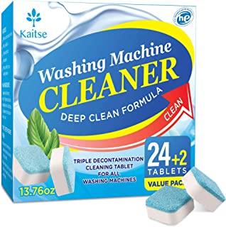 Kaitse Washing Machine Cleaner Tablets, Solid Washer Deep Cleaning Tablet, with Natural Formula, for Front and Top Load Wa...