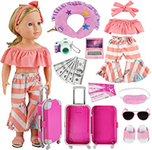 COSYOO 17 PCS Doll Travel Set Suitcase American Doll Accessories for Girl 18 Inch Including Suitcase Luggage A Set of Clothes Slippers Sunglasses Camera Laptop Unicorn Pillow Blindfold