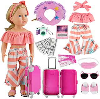 COSYOO 17 PCS Doll Travel Set Suitcase American Doll Accessories for Girl 18 Inch Including Suitcase Luggage A Set of Clot...