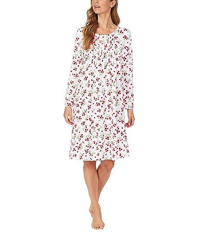 Carole Hochman Baby Fleece Waltz Long Sleeve Gown (White/Red Floral) Women