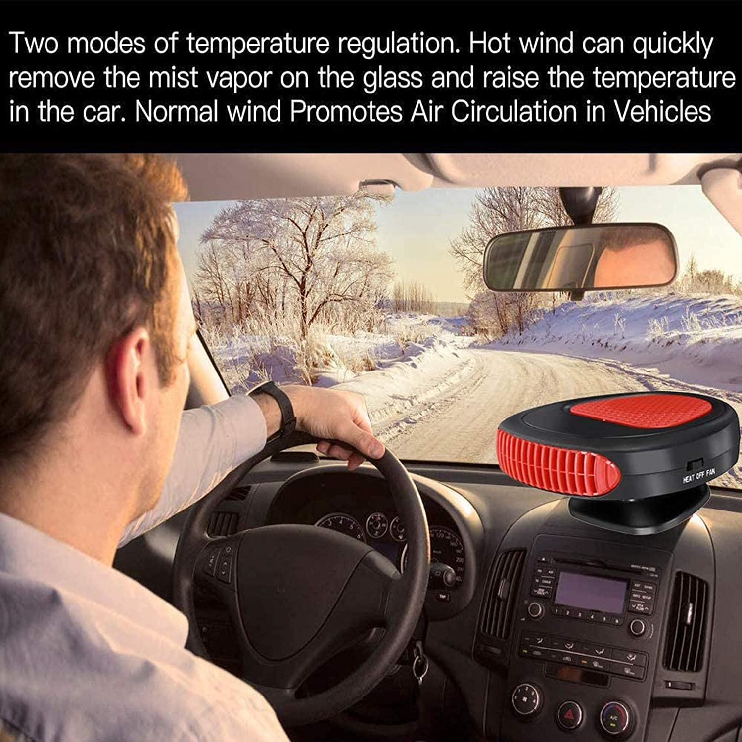 12V 150W Auto Electronic Demister 2 in 1 Ceramic Plug in Cig Lighter Car Fan Heater Portable Car Heater Low Consumption No Noise,A 30 Second Fast Heating Defrost Defogger