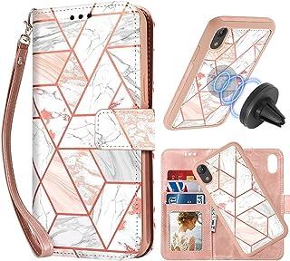 CASEOWL Funda tipo cartera para iPhone XR 2 en 1 magnética desmontable [soporte magnético para soporte de coche] patrón de...