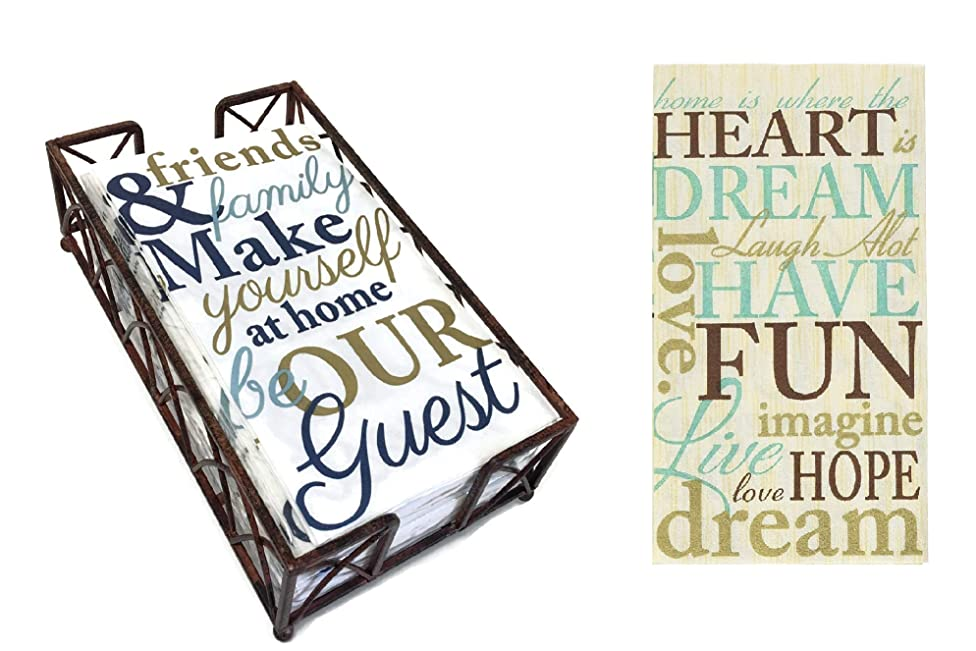 Arched Aged Chestnut Caddy Guest Towel Holder with A Set Of 2 Packages of 16 ct each Warm Welcoming Message Designs Disposable Premium 2-ply Guest Towels Decorative Bathroom Napkins