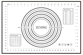 """ZCHING Silicone Pastry Mat with Measurement Not-Slip Rolling Dough Mats for Baking 24"""" x 16"""" (black)"""