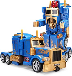 YARMOSHI Robot Truck 2 in 1 Action Figure, Autobot. This Remote Control Fighter Toy has a USB Connection for Easy Charging. Made of Safe, Sturdy Materials, (Blue-Gold)