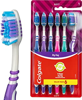 Colgate ZigZag Deep Interdental Clean Toothbrush 25 percent Recycled Plastic Handle Soft Bristles Value 6 Pack