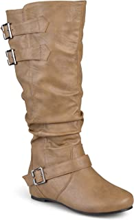 Journee Collection Womens Regular Sized, Wide-Calf and Extra Wide-Calf Buckle Slouch Low-Wedge Boot