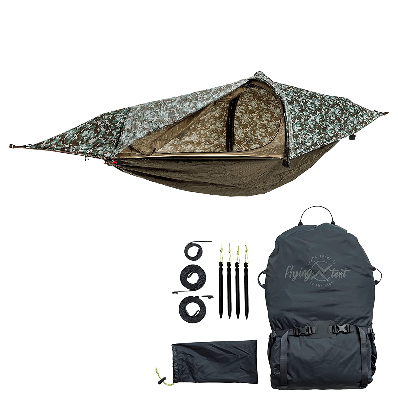 flying tent: Unique All-in-ONE Hammock Tent, Bivy Tent, Hammock and Rain Poncho + Fine Mesh Mosquito Net