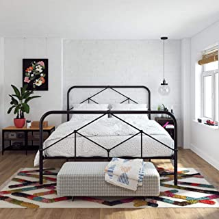 Novogratz Francis Farmhouse, Queen Frame, Storage, Black Metal beds