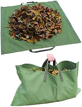 Amatory Leaf Bag Garden Lawn Yard Waste Tarp Container Gardening Tote Trash Reusable Heavy Duty Military Canvas Fabri...