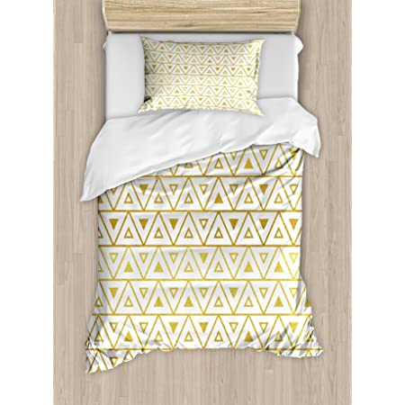 Ambesonne Geometric Duvet Cover Set, Triangles in Gridal Design with Chevron Zig Zag Style Pattern Image Print, Decorative 2 Piece Bedding Set with 1 Pillow Sham, Twin Size, Yellow White