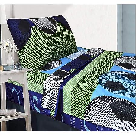 Full Size 4pc Sheet Set for Boys//Teens Soccer Green Blue Black White New