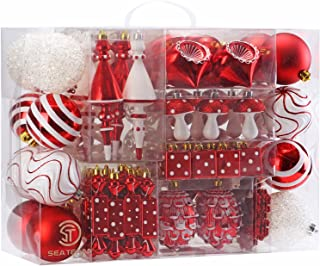 Sea Team 84 Pieces of Assorted Shatterproof Christmas Ball Ornaments Set Seasonal Decorative Hanging Ornament Set with Reusable Hand-held Gift Package for Holiday Xmas Tree Decorations, Red & White