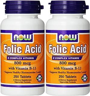 Now Foods Folic Acid 800mcg, 250 Tablets (2 Pack)