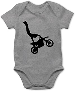 Shirtracer Fahrzeuge Baby - Motorrad Stunts - Baby Body Kurzarm für Jungen und Mädchen
