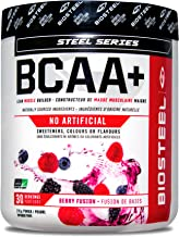 Biosteel BCAA+ Amino Acid Powder, Lean Muscle Support, Sugar Free, Naturally Sweetened with Stevia, Berry Fusion, 210 Gram