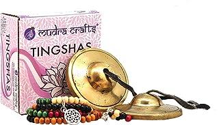 Mudra Crafts Tibetan Handmade Yoga Meditation Om Tingsha Bell Chimes Cymbal Set, Wood Mala with a Mandala Charm (2.75 Inch...