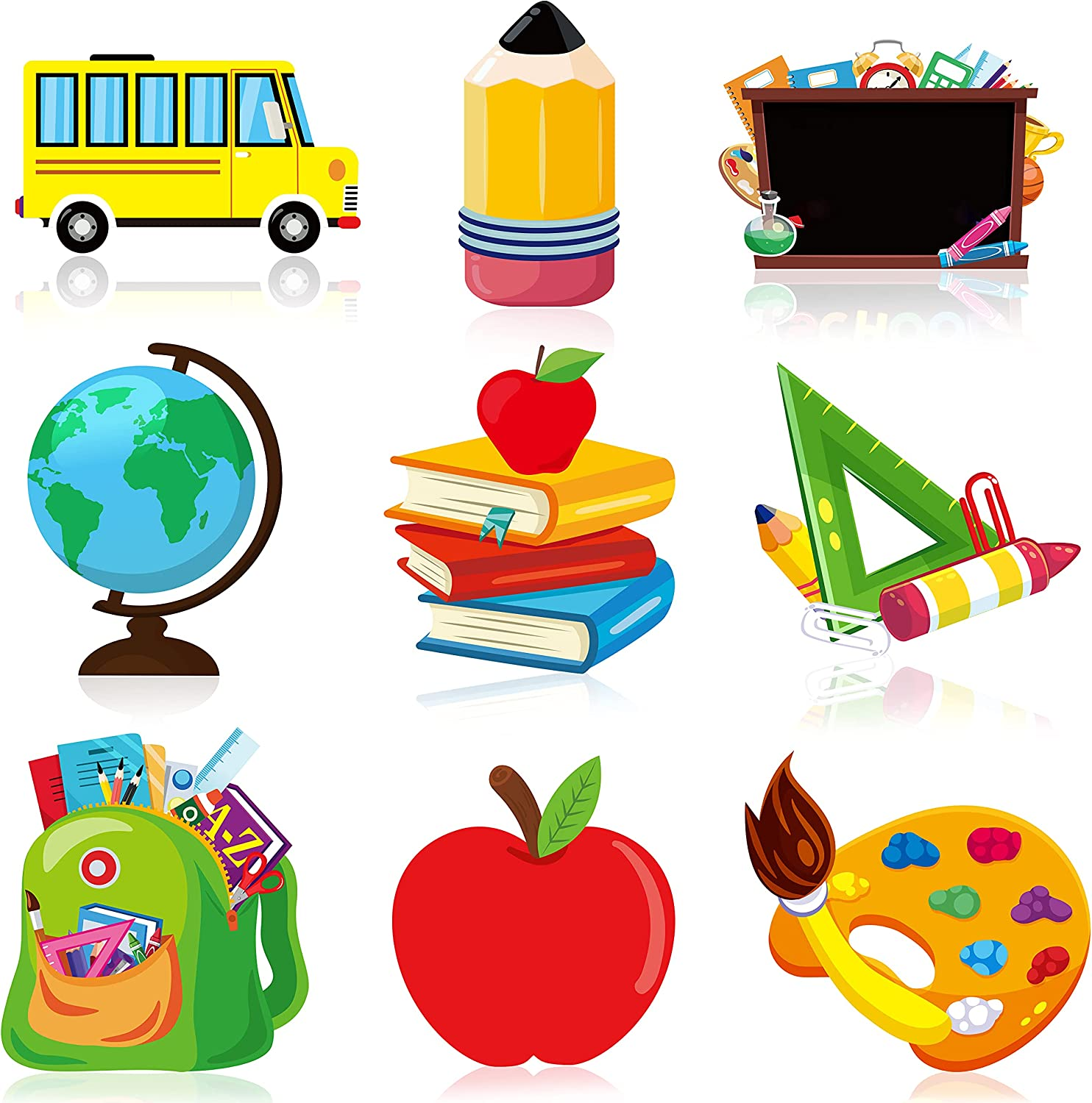 WATINC 45PCS Back To School Cut-Outs Decoration, School Bus for First Day of Classroom Theme Essentials Wall Decal Bulletin for Colorful Book Chalkboard Decor for Kids and Teacher Party Favor Supplies
