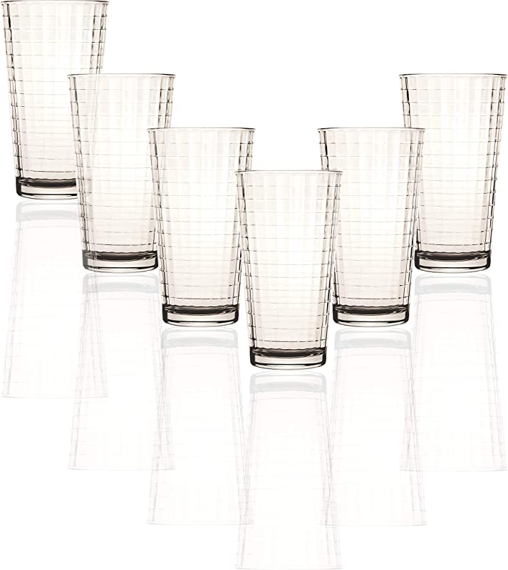 Circleware 40113 Matrix Set Of 6 Heavy Base Tumbler Cooler Beverage Glasses 15 75 Oz Drinking Highball Cups For Water Juice Milk Beer Ice Tea Farmhouse Decor Selling Gifts 6pc