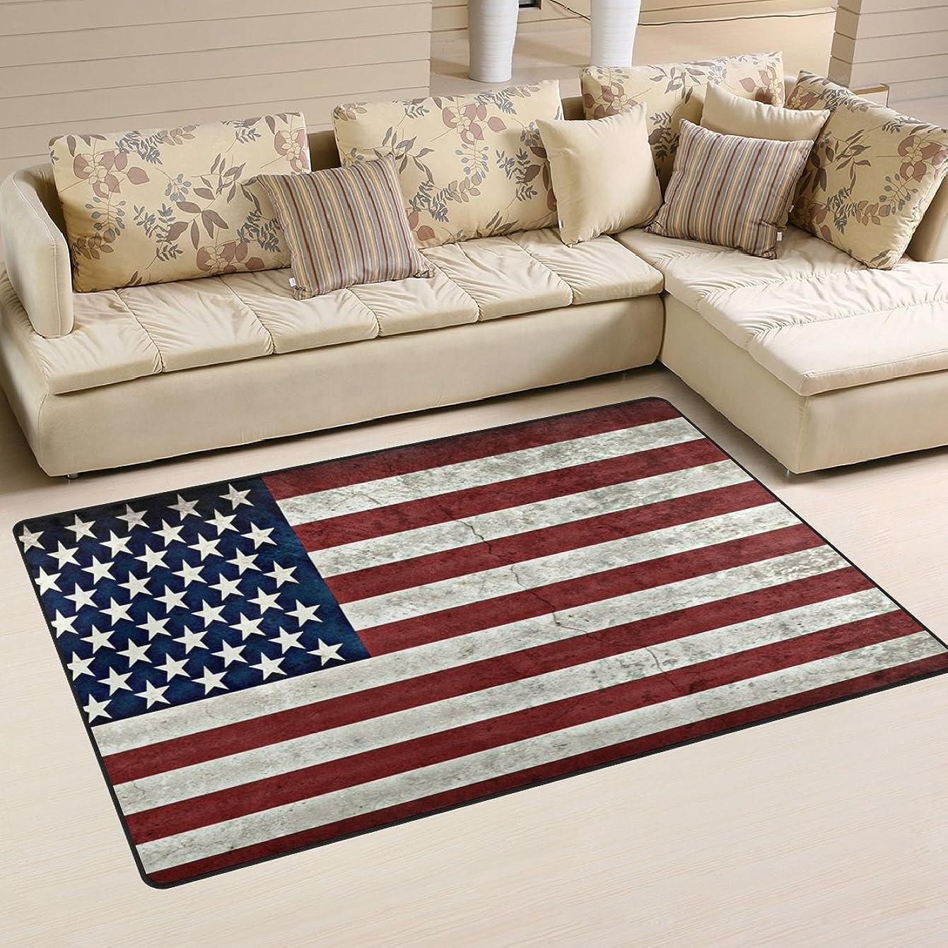 業界毎週鳴らすバララ(La Rose) ラグ カーペット マット 洗える おしゃれ 滑り止め 絨毯 アメリカ 国旗 絵柄 ホットカーペット ウォッシャブル 心地よいサラふわ触感 折り畳み可 床暖房 対応 約幅79x51cm