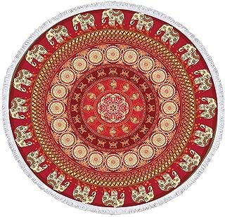 Jiahongsheng Bohemian Round Beach Towel Indian Mandala Yoga Mat Tapestry 60 inch Diameter (Bohemian-Elephant Envoy)