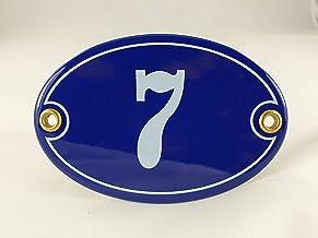 Emaille huisnummerbordje nr. 7, ovaal, blauw-wit Nr. 7 Blau-Weiß + Schrauben und Dübel