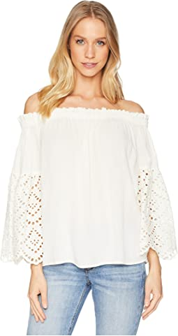 Off Shoulder Blouse with Eyelet Sleeves