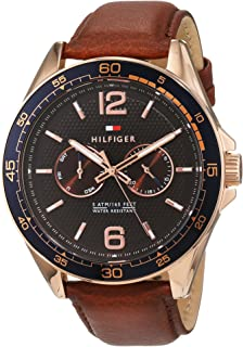 Tommy Hilfiger 1791367 Contrast Dial Round Analog Leather Watch for Men - Brown