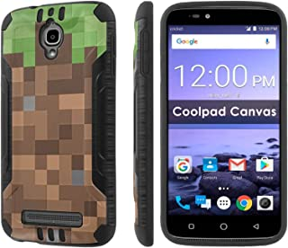 [Cricket] Coolpad Canvas 3636A [Slickcandy] [Black/Black] Dual Layer Protection Brush Metal Texture [Phone Case] - [Mines]