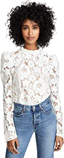 WAYF Women`s Emma Puff Sleeve Lace Top