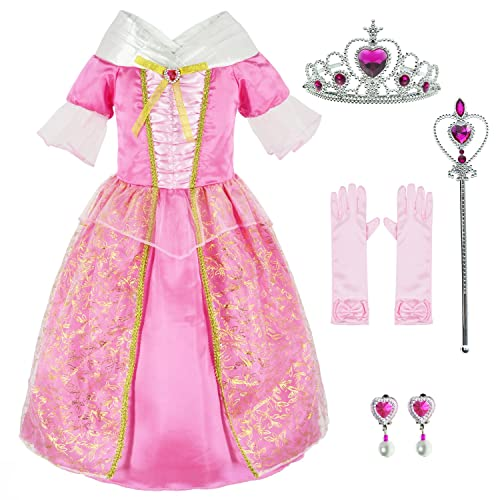 e97e92eaf6f Sleeping Beauty Princess Aurora Costume Girls Birthday Party Dress Up With Accessories  Age 3-12